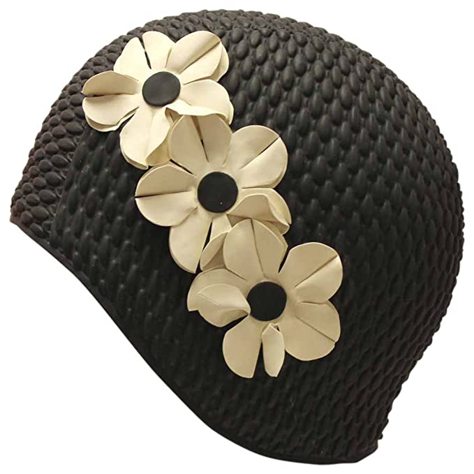 60s Swimsuits, 70s Bathing Suits | Retro Swimwear Luxury Divas Vintage Style Latex Swim Bathing Cap With Flowers $12.37 AT vintagedancer.com