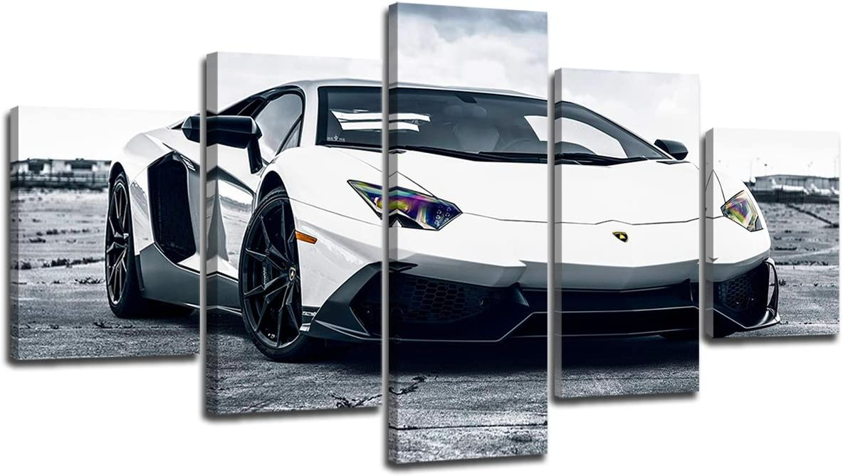 Green Lamborghini Sports Super Car House Landscape Wall Art Canvas Pictures
