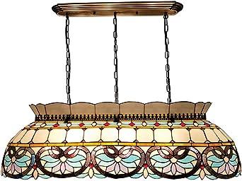 Lámpara de araña de estilo Tiffany, luces colgantes creativas de estilo barroco con una pantalla de cristal manchado, sala de estar, sala de billar, decoración, lámpara colgante de techo,70cm: Amazon.es: Iluminación