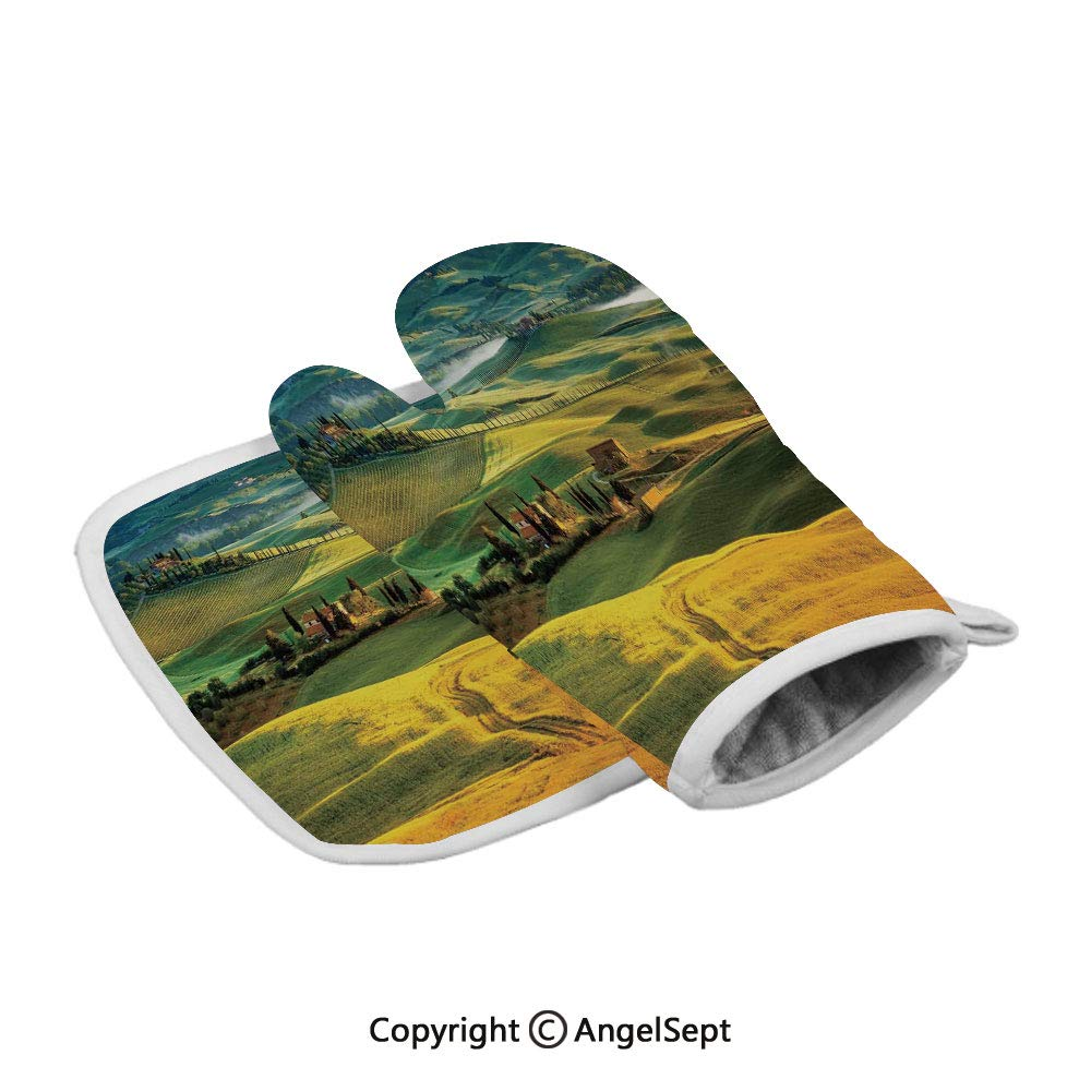 Idyllic Landscape of Tuscany Road and Cypresses to Medieval Farmhouse,Professional Polyster Insulated Grilling Gloves,Mustard and Green,Best Protective Insulated Kitchen-Food Safe