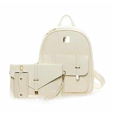 94f86dba97 Amazon.com  Jeff Tribble 3Pcs Set Small Women Backpacks female NEW School  Bags For Teenage Girls Black PU Leather Women Backpack Shoulder Bag Purse  Beige 11 ...