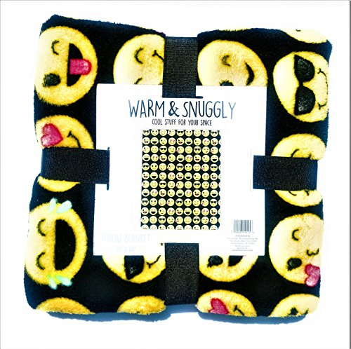 Warm and Snuggly Emoji Throw Blanket ( Black and yellow) 50 x 60 inches With all the classic smiley emoticons
