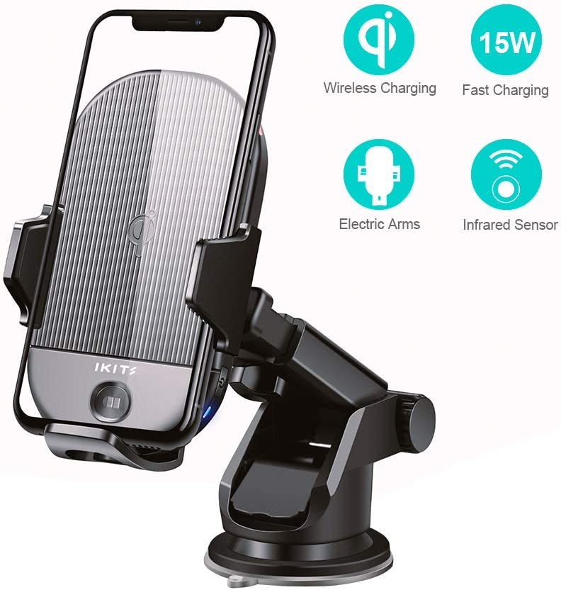 Qi Certified 15W Fast Charging Car Phone Holder Auto Clamping with Sucker Air Vent Clip Windshield Dashboard Stand for iPhone 11Pro Max XS XR 8,Galaxy S10+ S9 S8 IKITS Wireless Car Charger Mount