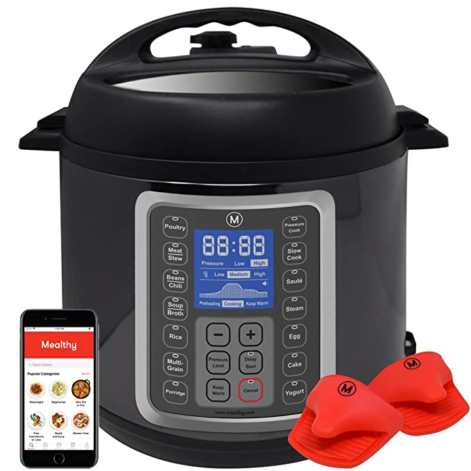 Mealthy Multipot 9-in-1 Programmable Cooker 6 Quarts Stainless Steel Pot, Steamer Basket, Instant Access to Recipe App Pressure Cook, s