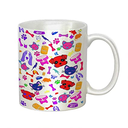 Amazon Com Pets 11 Oz White Decorative Coffee Mug Kitchen