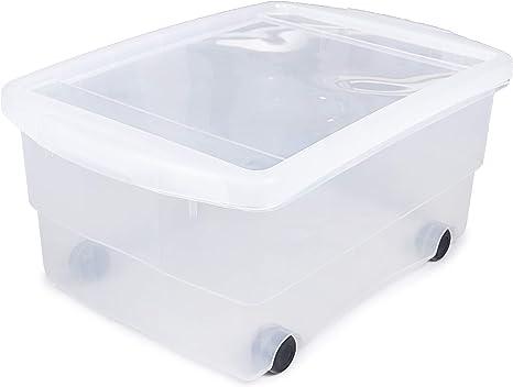 Aufbewahrungsbox transparent Ondis24 4X Kunststoffbox mit Deckel /& Rollen Kiste stapelbar Spielzeugkiste Rollbox 80L