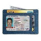 Ebax Slim Wallet Leather Minimalist Front Pocket Card Holder (One Size, Blue)