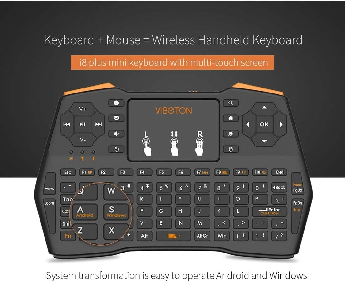 Black LYX I8 Plus Updated 2.4GHz Qwert Mini Wireless Keyboard with Touchpad for TV Box Computer Tablet Laptop and Projector Mi Box Convenience and