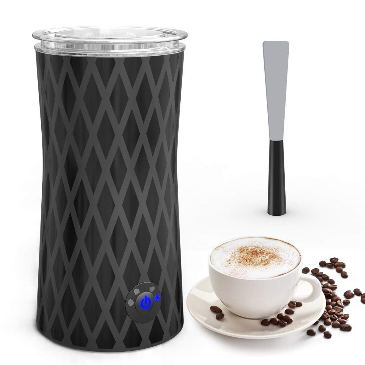 Electric Milk Frother, Keenstone Automatic Milk Steamer Coffee Frother Hot or Cold Milk Froth with Silent Operation for Latte, Cappuccino, Hot Chocolate (Frothing 115ML/Heating 250ML)