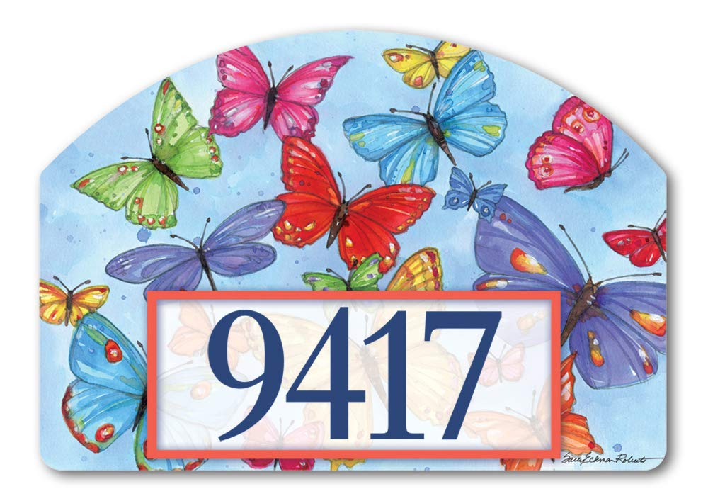 Yard DeSigns Studio M Brilliant Butterflies Spring Summer Decorative Address Marker Yard Sign Magnet, Made in USA, Superior Weather Durability, 14 x 10 Inches
