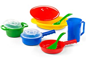 Kidzlane Toy Pots and Pans Kitchen Accessories, Durable and Safe Pretend Play Cookware for Toddler Kids