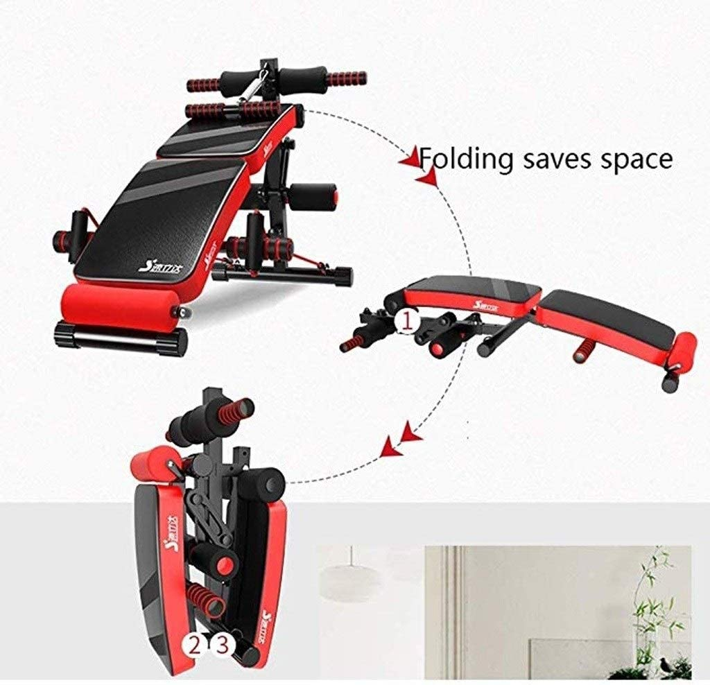 JIAJULL Foldable Fitness Workout Bench Chair Flat Weight AB Bench Workout Incline Decline Bench Sit Up Pad Mat Adjustable Exercise Bench Arc-Shaped Decline Sit Up Bench
