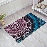 OneHoney Paisley Mandala Ideal Ethnic Strength Honor Symbol(Pink/Blue) Non-Slip Indoor/Outdoor/Front Door/Bathroom Mats 20 x 31.5 inch