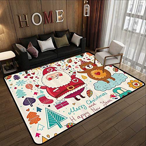 Low-Profile Mats,Christmas,Santa and Teddy Bear Vintage Christmas Season Ornaments Party Kids Nursery Theme,Multicolor 59