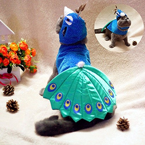 ArMordy(TM) Luxury Pet Cat Clothing Blue Peacock Cat Clothes Cosplay Small Pet Coat Costume]()