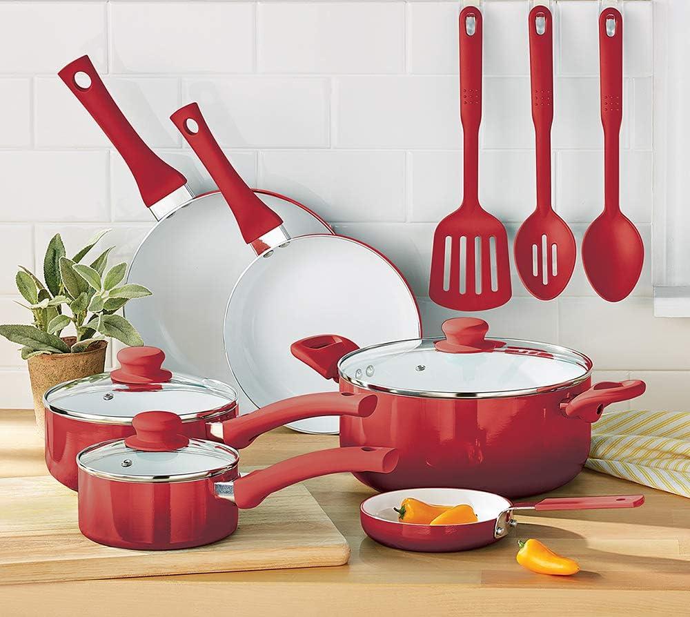 Cermalon /® 5-Piece Matt Blush Pink with Grey Sparkle Ceramic Non-Stick Pan Set