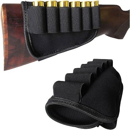 Tactical Rifle Shotgun Buttstock Ammo PouchCarrier Shell Holder 6 Round 12//20GA