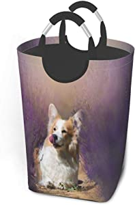 Collapsible Laundry Baskets,Dirty Laundry Hamper,Smile Dog On Beautifully Lavender Field,Colapsable Laundry Basket Metal Handles,Dorm Collaspable Laundry Basket Fabric For Camp Travel Kids Baby Girl B