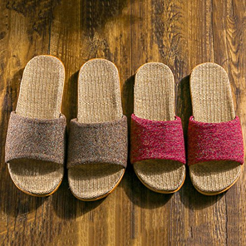 Coffee Unisex Toe Flax House Open Indoor Couple Slippers Cotton Slippers PqpFzxAwPn
