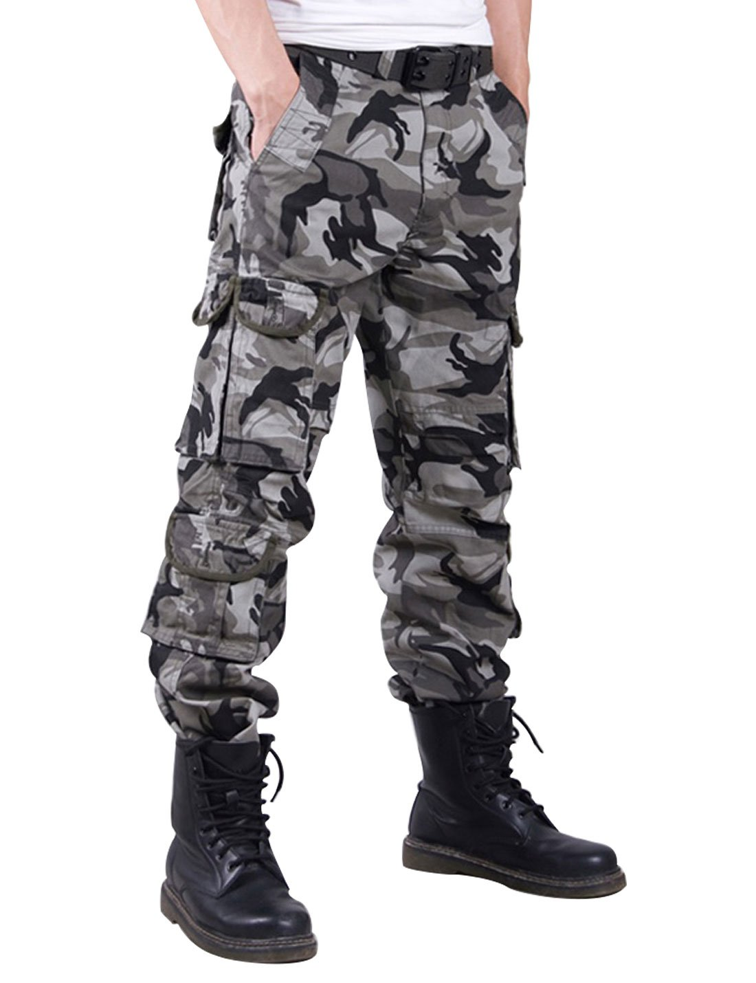 Gihuo Men's Casual Camouflage Military Army Style Cotton Cargo Pants with Multi Pockets (W29, Grey Camo)