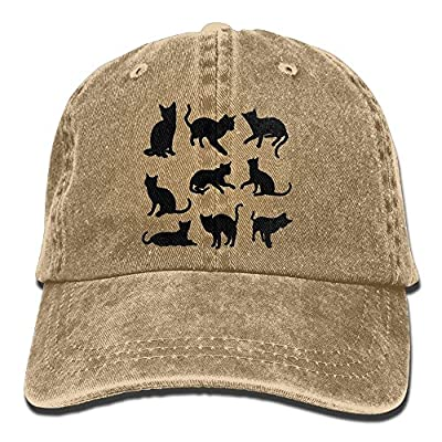 Unisex Nine Cats Silhouettes Baseball Cap Cotton Denim Hat Adjustable Snapback Peak Cap