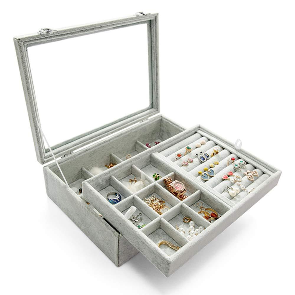 WuligirlClearLidRing EarringsOrganizerHolder2 Layer Ice Velvet 12 Grid Jewelry Tray Box Removable Display Storage Necklace Bracelet(2 LayerBox)