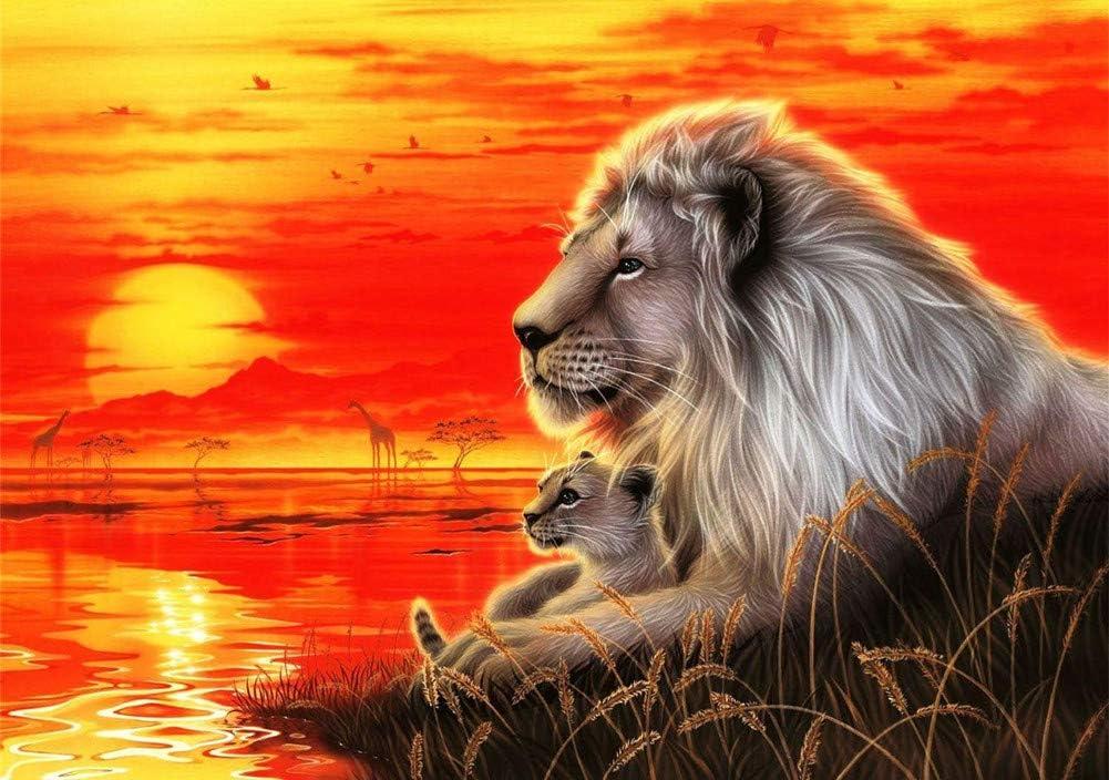 Wowdecor - Cuadro para pintar por números para adultos, niños, niñas; gato, león, caballo, elefante; 40 x 50 cm, preimpreso, lienzo de pintura al óleo