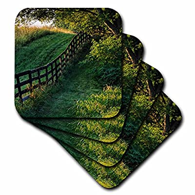 3dRose Danita Delimont - Agriculture - Farm fence at sunrise, Oldham County, Kentucky - Coasters