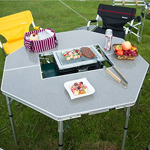 OnwaySports Height Adjustable Lightweight Foldable Aluminum Barbecue Table to Hold Grill Stove for Outdoor Camping BBQ for 8 People