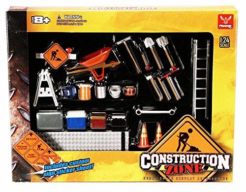 Construction Zone - Phoenix Garage Diorama Accessory Set 18425 - 1/24 scale diecast car diorama accessory