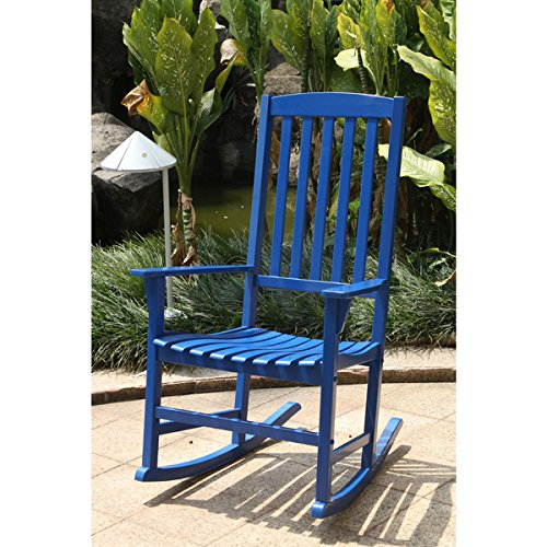 Alston Blue Porch Rocking Chair Made with Mahogany Material