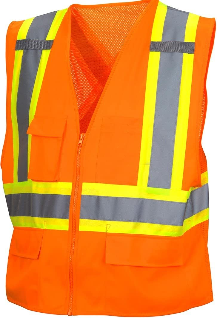 Pyramex Hi-Vis Vest with Contrasting Reflective Tape, Orange, 4XL