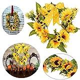 ZDMALL Fall Garland,Fall Wreath Autumn Decorative Wreath for Front Door Or Indoor Seasonal Thanksgiving, Christmas Party DIY Home Wall Decor Artificial Sun Flower (11.8'')