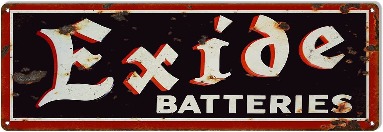 Lplpol Aluminum Sign, Exide Batteries Vintage Looking Gas Station Motor Oil Garage Shop Metal Sign, Decoration Sign, 3x12 Inch