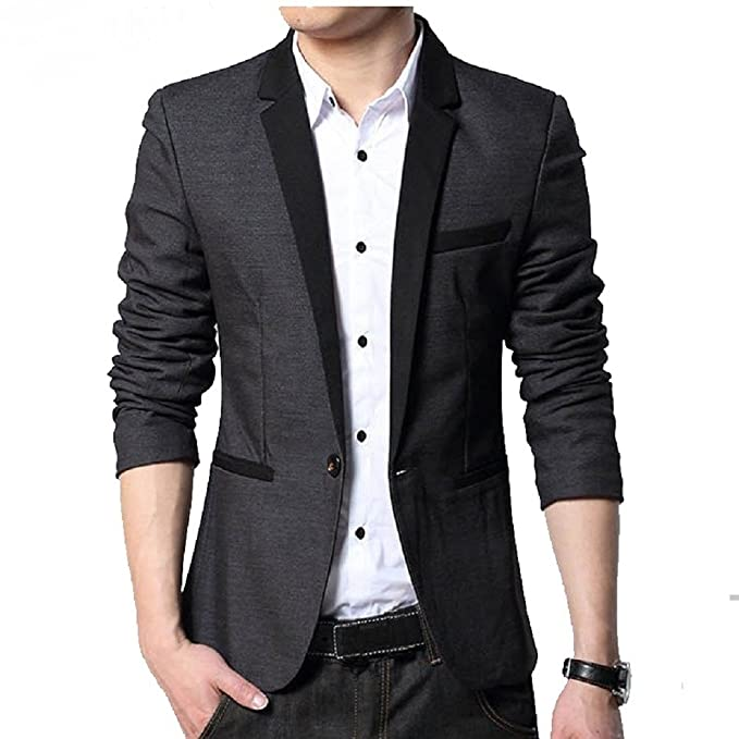 Menjestic Men's Slim Fit Blazer With Grey Lapel Men's Suits & Blazers at amazon