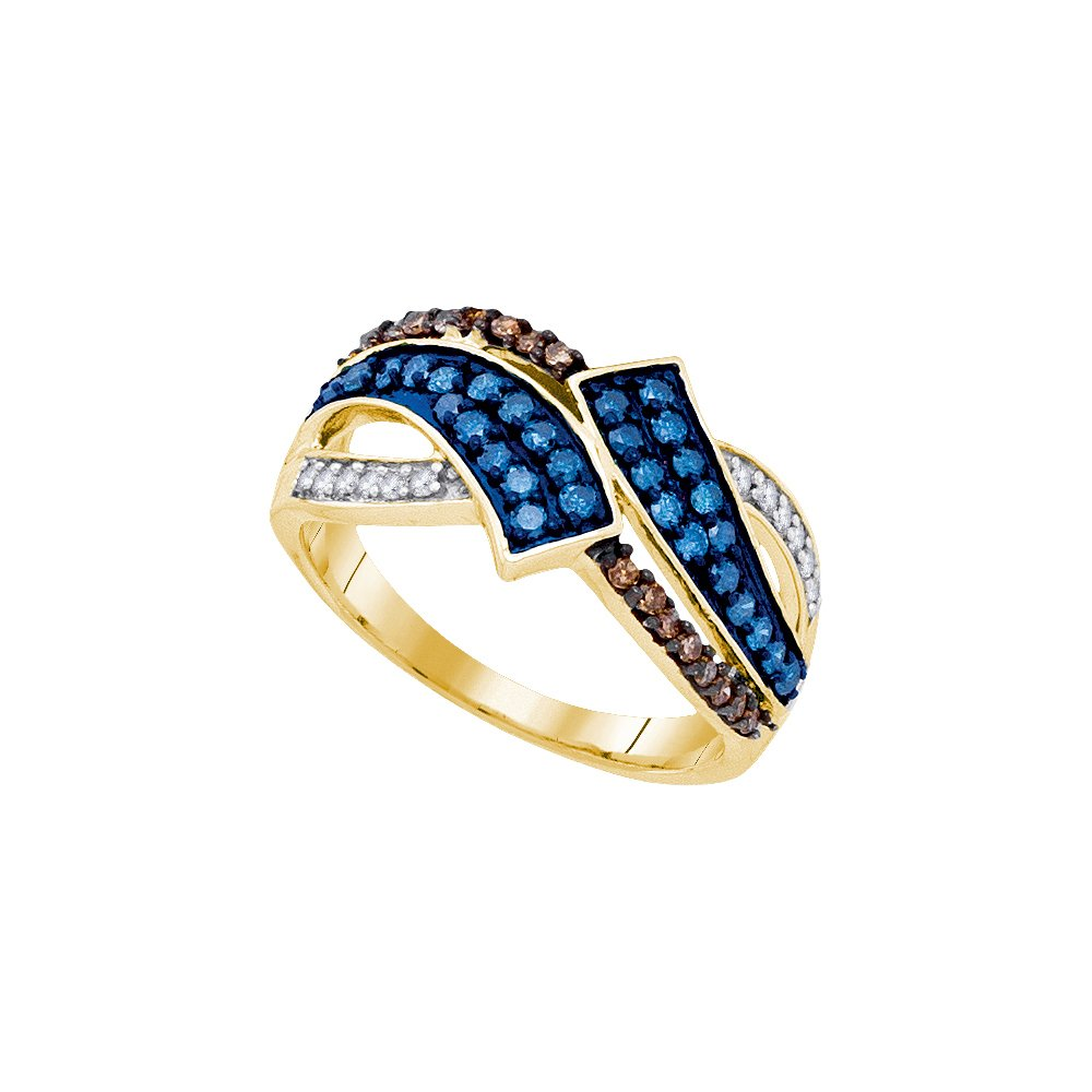 Size 6 - 10k Yellow Gold Round Blue & Chocolate Brown Diamond Round Ring (1/2 Cttw)