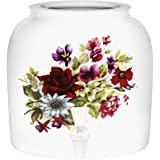 """Summer Flowers"" Porcelain Ceramic Water Dispenser Crock with Faucet"