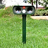 XNEMON Animal Repeller Ultrasonic Solar Power Pest Repeller Solar Powered Cat Dog Fox Deer Rodent Repellent for Farm Garden Outdoor