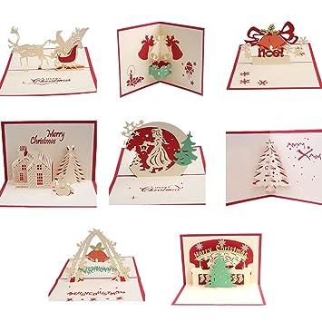 BAIVIT Tarjeta De Navidad 3D Juego De 8 Tarjeta De Navidad ...