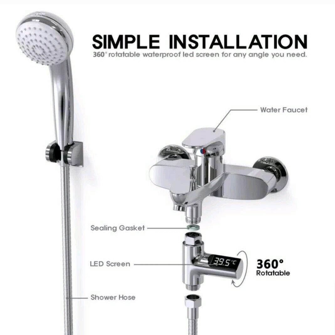 LED Waterproof Digital Shower Temperature Display Flow Water Thermometer Monitor