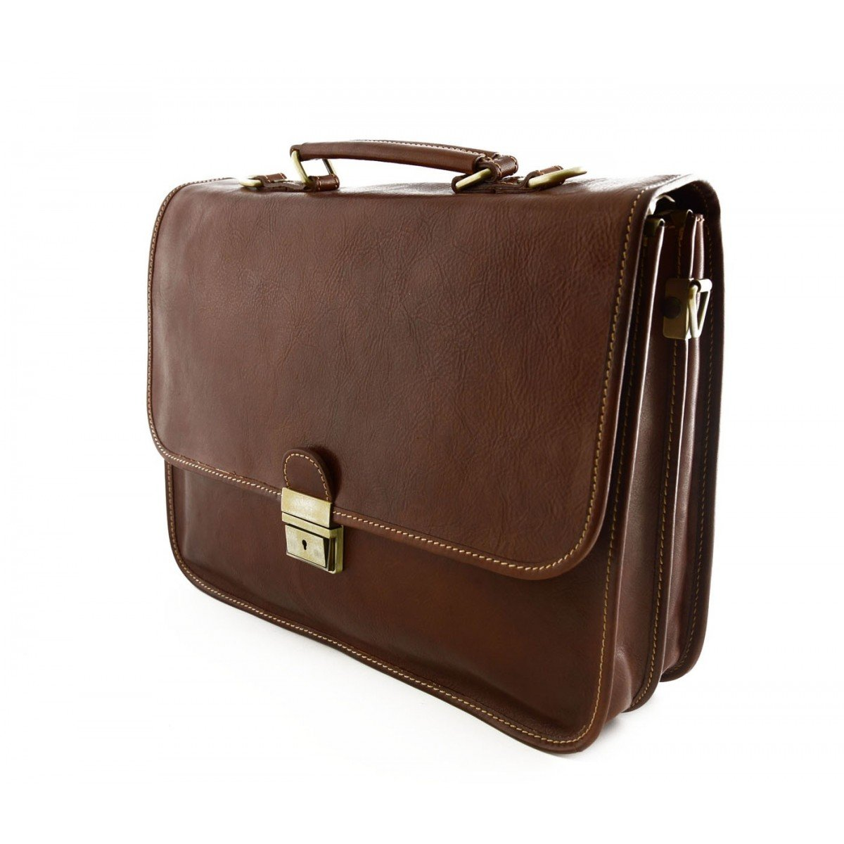 Genuine Leather Business Briefcase with 2 Compartments Color Brown