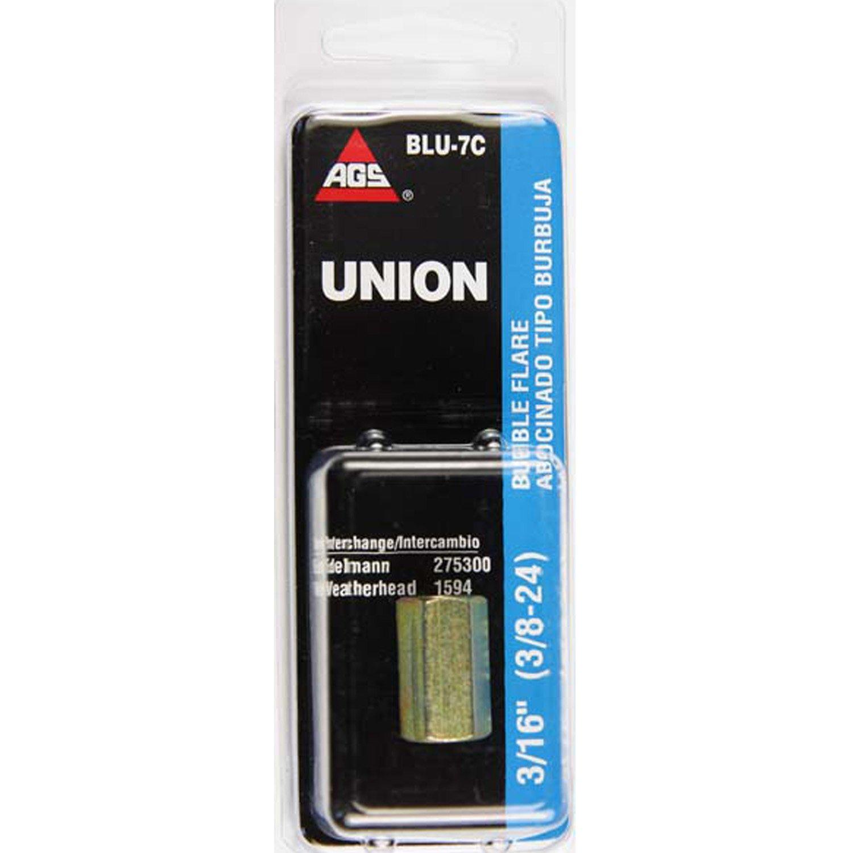 1//card 3//16 AGS Steel Brake Line Union 3//8-24 Bubble