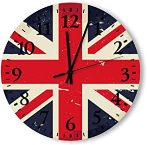 Round Wood Wall Clock Home Decor,Vintage Union Jack Wall Clock Pattern, Battery Operated, no Ticking Sound, for Home, The Kitchen, Living Room, Bedroom, Restaurant or Office, Made in US