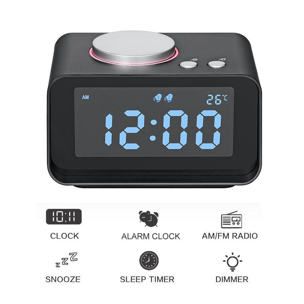 AK1980 Dual Alarm Clock Radio WithSnooze Function 2 USB Charging Ports for Office Travel Bedroom