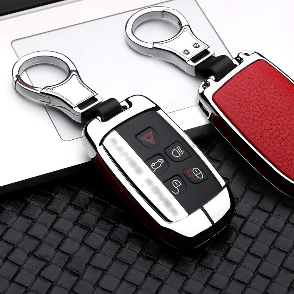 ontto for Land Rover Car Key Cover Zinc Alloy Metal Key Fob Cover Holder Protector for Defender Discovery Evoque LR4 Range Rover Sport Jaguar 5-Button Remote Car Key Case Keyring Black Red