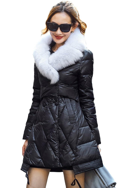 queenshiny Damen Lange Daunenjacke Mantel mit Fuchs Pelz kragen Winter
