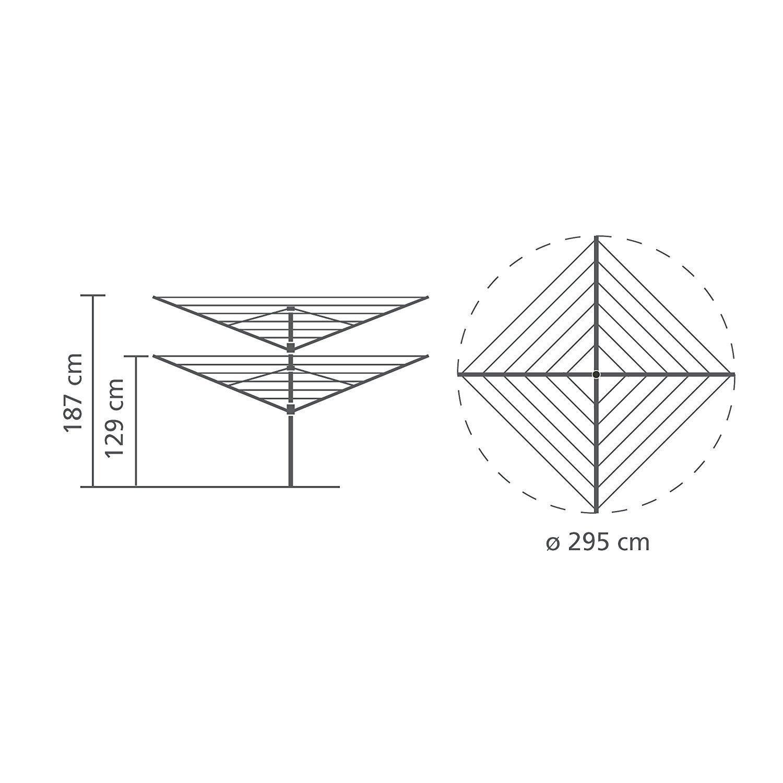 40 m Brabantia Lift-O-Matic Tendedero de Jard/ín con Soporte Acero Inoxidable Gris Metalizado