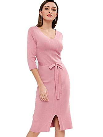 71459c233a1 ZAFUL Women Pullover Sweater Dresses Sexy V Neck Dress Belted Flare Sleeve  Dress Fall Winter Knit Sweater Dress(Pink)  Amazon.co.uk  Clothing