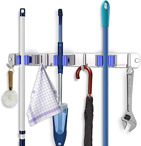 Broom Mop Holder with Hook Sharemee Stainless Steel Heavy Duty Wall Mount Organizer Tools Hanger Rack Storage /& Home Organization 3 Pack