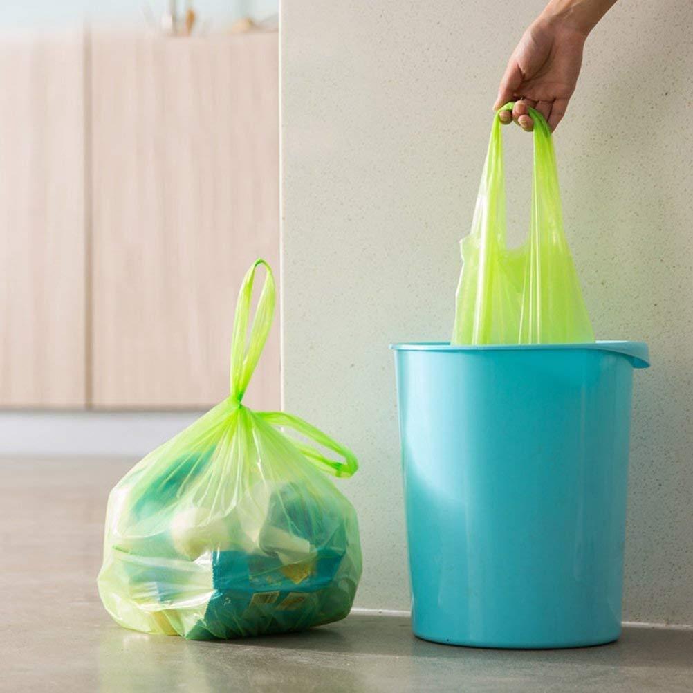 BESTONZON 6 rollos de peque/ñas bolsas de basura con asas de corbata coloridas bolsas de pl/ástico para ba/ño sala de estar oficina color al azar cocina